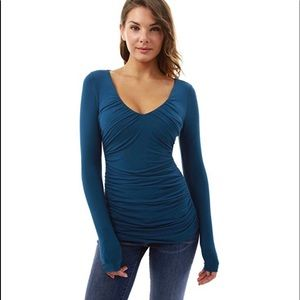 Pattyboutik Blue Long Sleeve Ruched Blouse